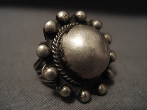 Early 1900's Vintage Navajo Native American Jewelry Silver Bead Ring-Nativo Arts