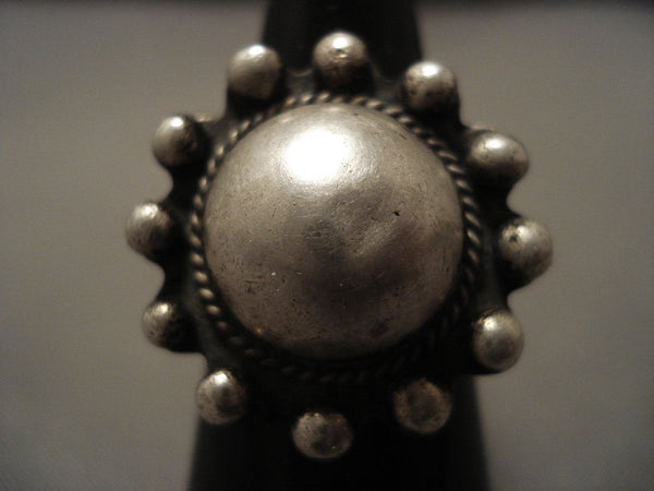 Early 1900's Vintage Navajo Native American Jewelry Silver Bead Ring