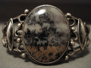 Early 1900's Vintage Navajo Petrified Wood Native American Jewelry Silver Bracelet-Nativo Arts