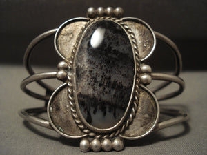 Early 1900's Vintage Navajo Petrified Wood Sterling Native American Jewelry Silver Bracelet-Nativo Arts