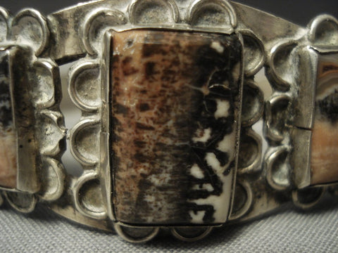"Early 1900's Vintage Navajo """"squared Petrified Wood"""" Native American Jewelry Silver Bracelet Old-Nativo Arts"
