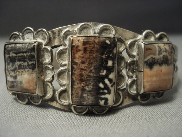 "Early 1900's Vintage Navajo """"squared Petrified Wood"""" Native American Jewelry Silver Bracelet Old"