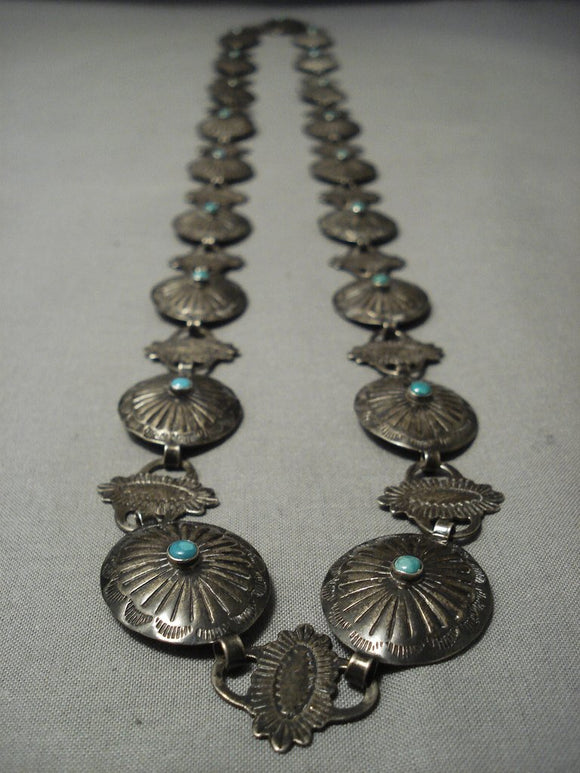 Early 1900's Vintage Navajo Turquoise Native American Jewelry Silver Concho Belt/ Necklace-Nativo Arts