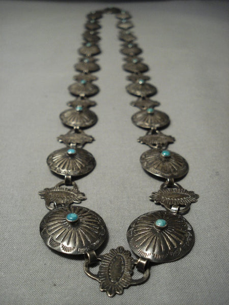 Early 1900's Vintage Navajo Turquoise Native American Jewelry Silver Concho Belt/ Necklace