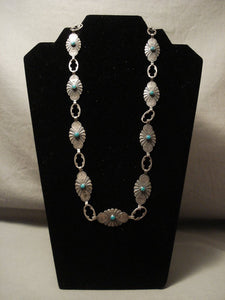 Early 1900's Vintage Navajo Turquoise Native American Jewelry Silver Necklace-Nativo Arts