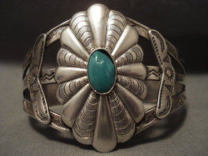Early 1900's Vintage Navajo Turquoise Native American Jewelry Silver Sheild Bracelet-Nativo Arts
