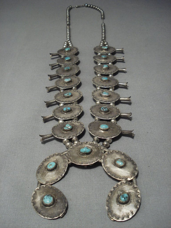 Early 1900's Vintage Navajo Turquoise Sterling Native American Jewelry Silver Squash Blossom Necklace-Nativo Arts