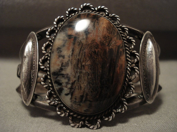 Early 1900's Vintage Navajo Wood Native American Jewelry Silver Bracelet Old-Nativo Arts