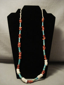 Early 1900's Vintage Santo Domingo/ Navajo Native American Jewelry jewelry Coral Turquoise Shell Necklace-Nativo Arts