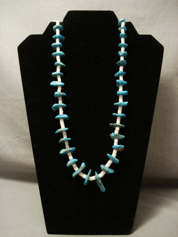 Early 1900's Vintage Santo Domingo Old Heishi Turquoise Necklace-Nativo Arts