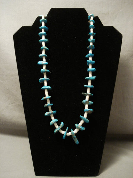 Early 1900's Vintage Santo Domingo Old Heishi Turquoise Necklace
