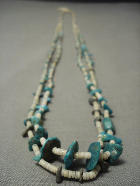 Early 1900's Vintage Santo Domingo Turquoise Necklace W/ Hubble Bead