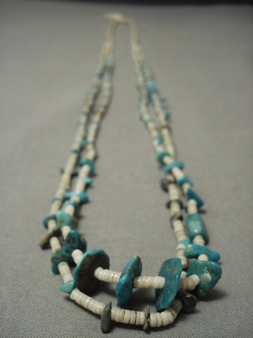Early 1900's Vintage Santo Domingo Turquoise Necklace W/ Hubble Bead-Nativo Arts