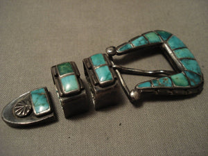 Early 1900's Vintage Zuni Cerrillos Turquoise Blue Gem Native American Jewelry Silver Buckle Set-Nativo Arts