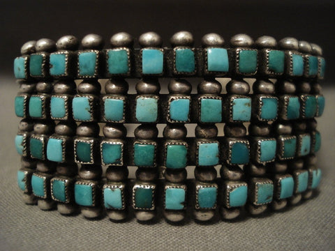 Early 1900's Vintage Zuni/ Navajo 'Squared Turquoise' Native American Jewelry Silver Bracelet-Nativo Arts