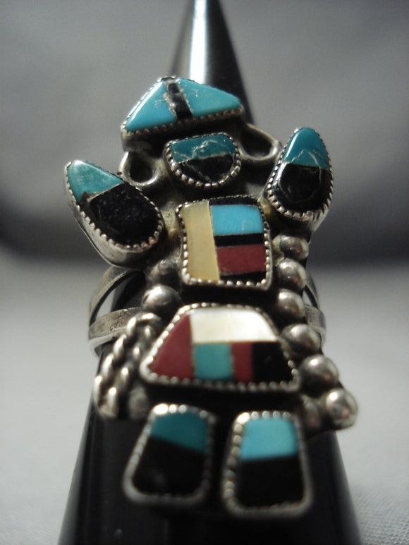 Early 1900's Vintage Zuni Turquoise Dancing Kachina Sterling Native American Jewelry Silver Ring Old-Nativo Arts