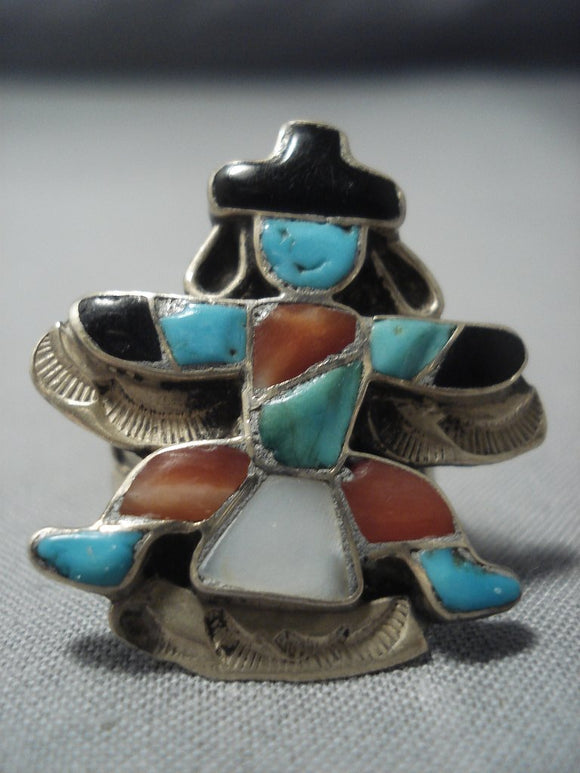 Early 1900's Vintage Zuni Turquoise Kachina Sterling Native American Jewelry Silver Ring Old-Nativo Arts