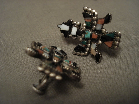 Early 1900's Vintage Zuni Turquoise Sterling Native American Jewelry Silver Earrings-Nativo Arts
