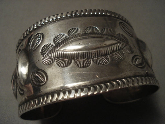 Early 1900's Wide Vintage Coin Native American Jewelry Silver Hand Repoussed Native American Jewelry Silver Bracelet Old-Nativo Arts
