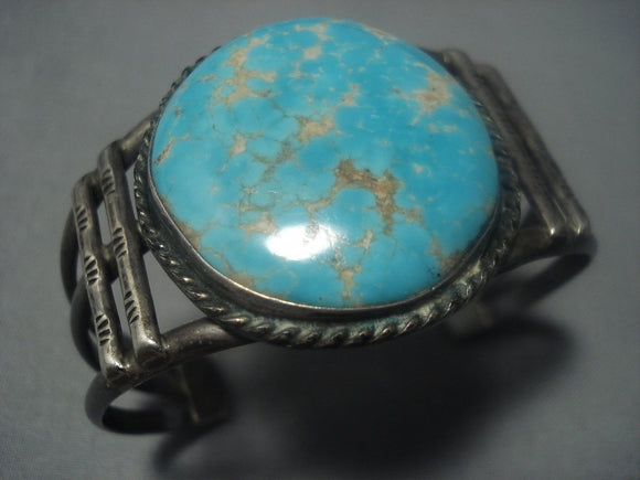 Early #8 Turquoise Vintage Navajo Native American Jewelry jewelry Sterling Silver Bracelet-Nativo Arts
