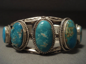Early Deposit Vintage Navajo Pilot Mountain Turquoise Native American Jewelry Silver Bracelet-Nativo Arts