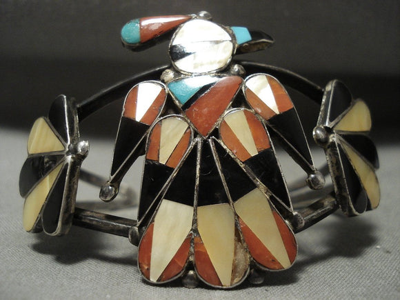 Early Huge Vintage Zuni Turquoise Coral Native American Jewelry Silver Patina Bracelet-Nativo Arts