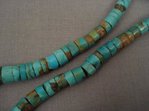 Early Number 8 Deposit Vintage Navajo Turquoise Native American Jewelry Silver Necklace-Nativo Arts
