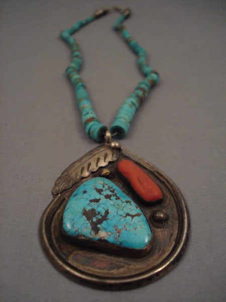 Early Number 8 Deposit Vintage Navajo Turquoise Native American Jewelry Silver Necklace