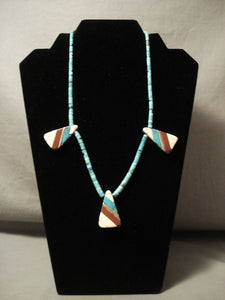 Early Santo Domingo Turquoise Coral Heishi Inlay Necklace-Nativo Arts
