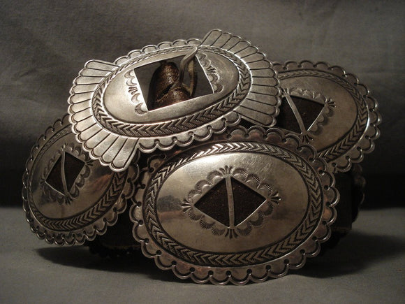 Early Vintage Navajo Hand Tooled Native American Jewelry Silver Concho Belt-Nativo Arts