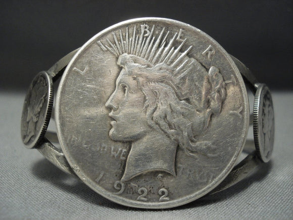 Early Vintage Navajo Native American Jewelry jewelry Coin Sterling Silver Bracelet-Nativo Arts
