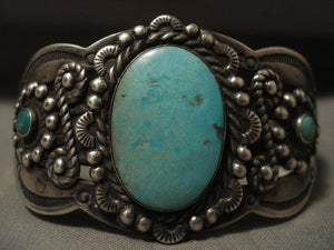 Early Vintage Navajo Natural Turquoise Native American Jewelry Silver Swirl Bracelet-Nativo Arts