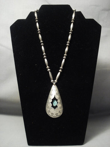 "Early Vintage Navajo """"teardrop Box"""" Turquoise Native American Jewelry Silver Necklace Old-Nativo Arts"