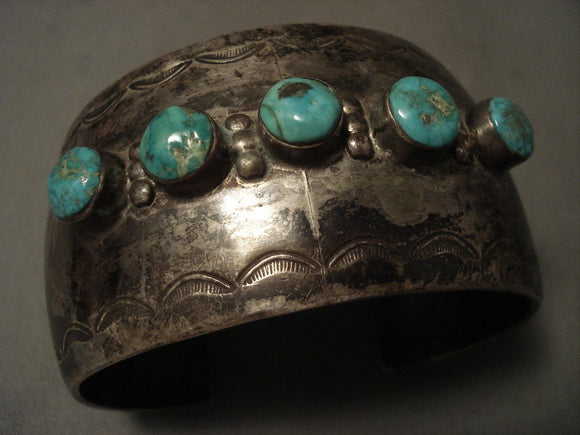 Early Vintage Navajo Wide Hand Pounded Native American Jewelry Silver Turquoise Bracelet-Nativo Arts
