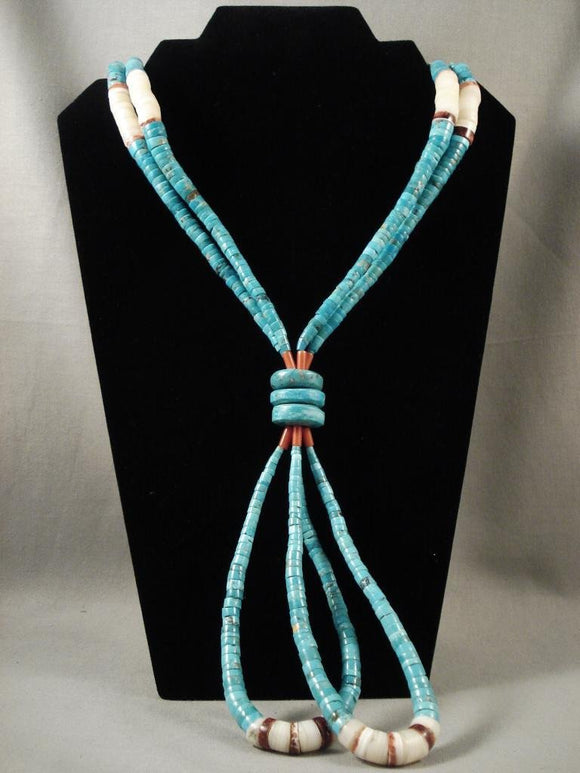 Early Vintage Santo Domingo Graduating Turquoise Necklace Old-Nativo Arts