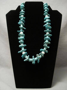 Early Vintage Santo Domingo Turquoise Nugget Heishi Necklace-Nativo Arts