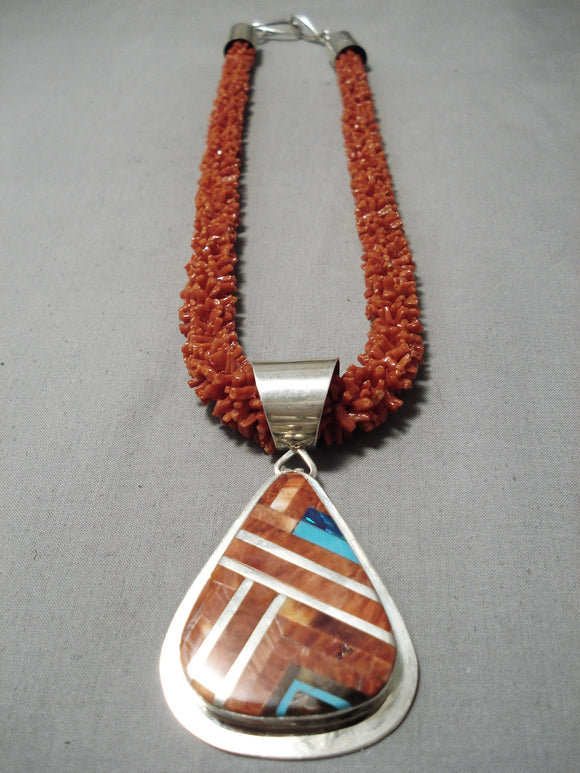 Native American Champion Vintage Santo Domingo Nestoria Coriz Coral Sterling Silver Necklace