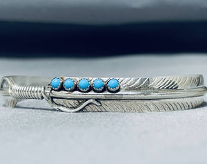 Very Intricate Detailed Native American Navajo Turquoise Feather Sterling Silver Bracelet