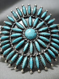Incredible Vintage Native American Navajo Torpedo Turquoise Sterling Silver Bracelet