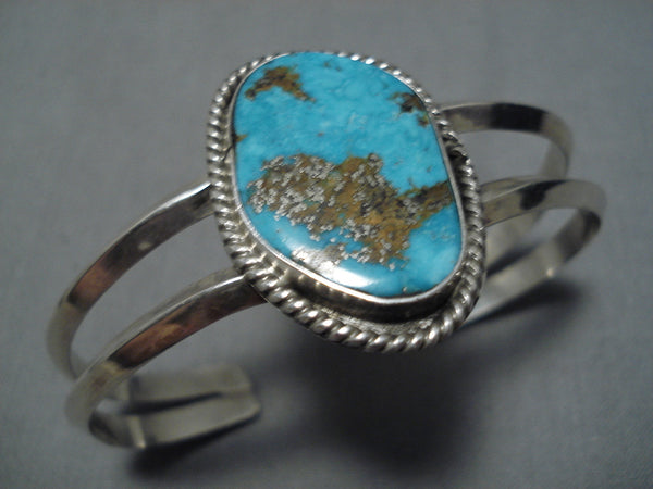 Rare Large Morenci Turquoise Vintage Native American Navajo Sterling Silver Bracelet Cuff Old