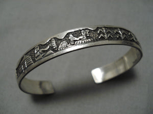 Extremely Detailed!! Vintage Native American Navajo Ts Kee Sterling Silver Bracelet Cuff Old