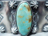 Expert Hand Tooled Vintage Native American Navajo Royston Turquoise Sterling Silver Bracelet
