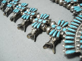 Important Vintage Native American Zuni Turquoise Sterling Silver Squash Blossom Necklace