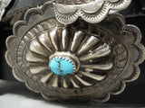Hand Tooled Authentic Vintage Native American Navajo Turquoise Sterling Silver Concho Belt