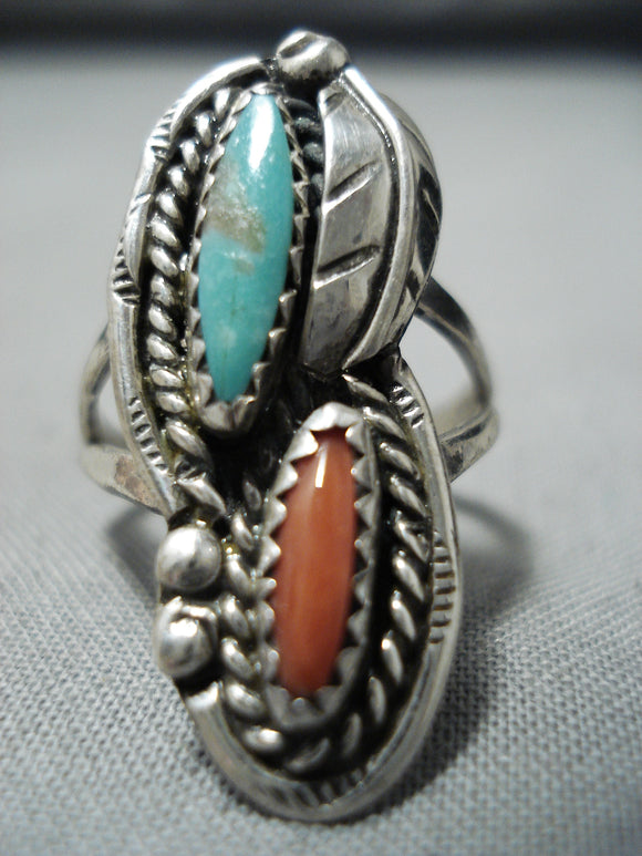 Marvelous Vintage Native American Navajo Turquoise & Coral Sterling Silver Ring Old