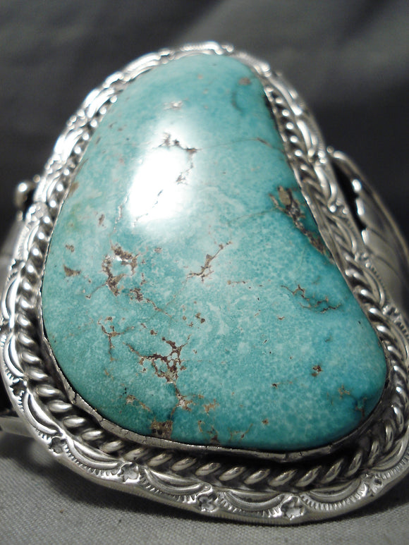 One Biggest Best Vintage Native American Navajo Carico Lake Turquoise Sterling Silver Bracelet