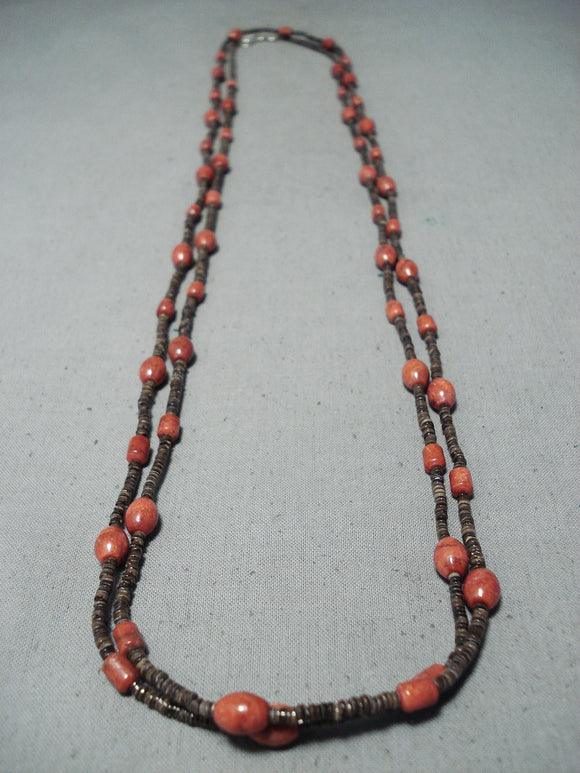 Special Santo Domingo Coral And Heishi Long Necklace Native American