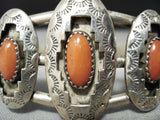 Authentic Vintage Native American Navajo Coral Sterling Silver Shadowbox Bracelet