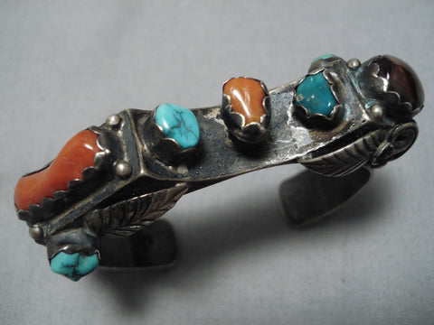 Important Vintage Native American Navajo Spiderweb Turquoise Coral Sterling Silver Bracelet Old