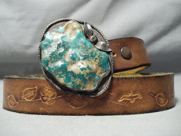 Huge Chunky Royston Turquoise Vintage Native American Navajo Sterling Silver Concho Belt